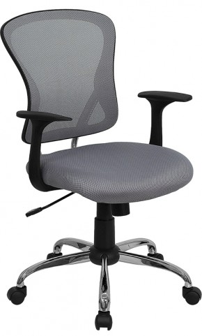 Mid-Back Gray Office Chair with Chrome Finished Base