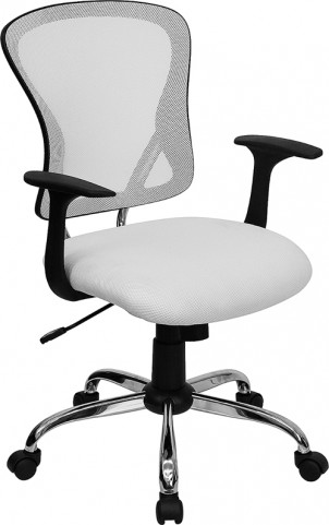Mid-Back White Office Chair with Chrome Finished Base