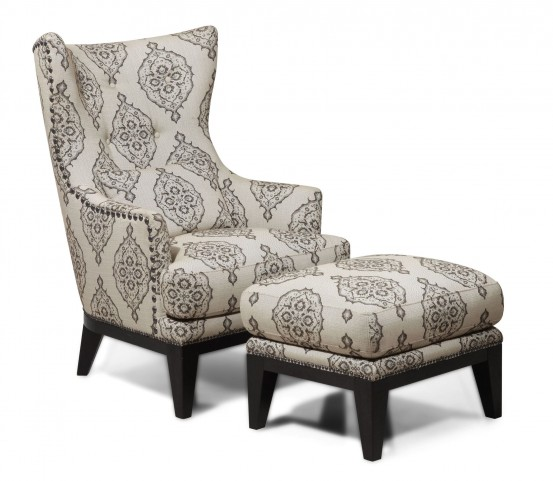 Charleston Antique Espresso Accent Chair & Ottoman