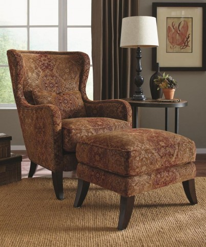 Huntly Antique Espresso Accent Chair & Ottoman
