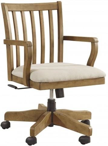 Trishley Light Brown Home Office Swivel Desk Chair