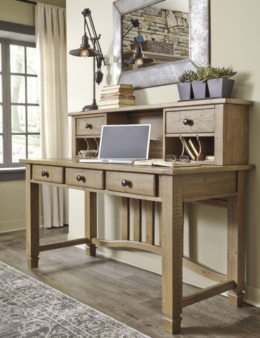 Trishley Weathered Gray Desk With Hutch