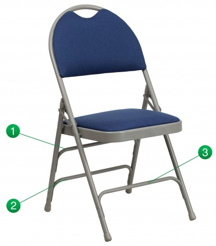 Hercules Series Ultra-Premium Navy Fabric Metal Folding Chair