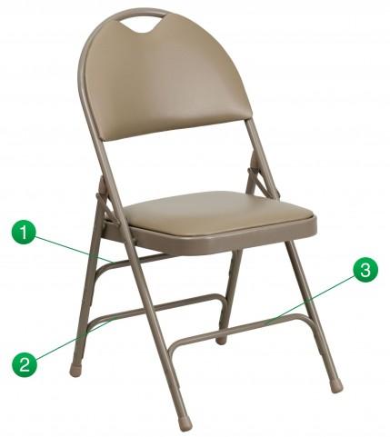 Hercules Series Ultra-Premium Beige Vinyl Metal Folding Chair