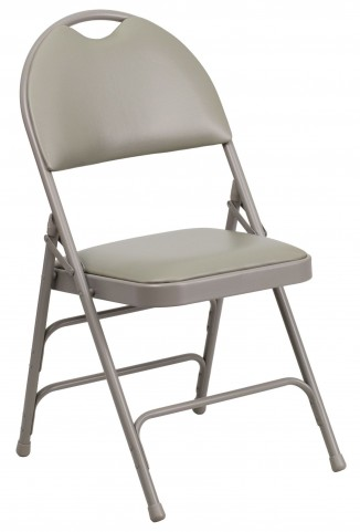Hercules Series Ultra-Premium Gray Vinyl Metal Folding Chair
