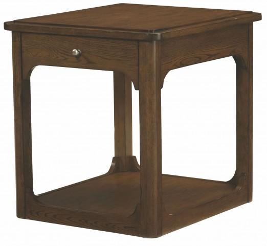Facet Smoky Brown Oak Rectangular Drawer End Table