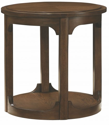 Facet Smoky Brown Oak Round End Table