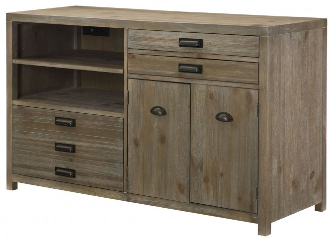 Parsons Sandalwood Credenza Desk with Hutch