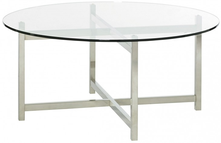 Xpress Sable & Satin Nickel Round Cocktail Table