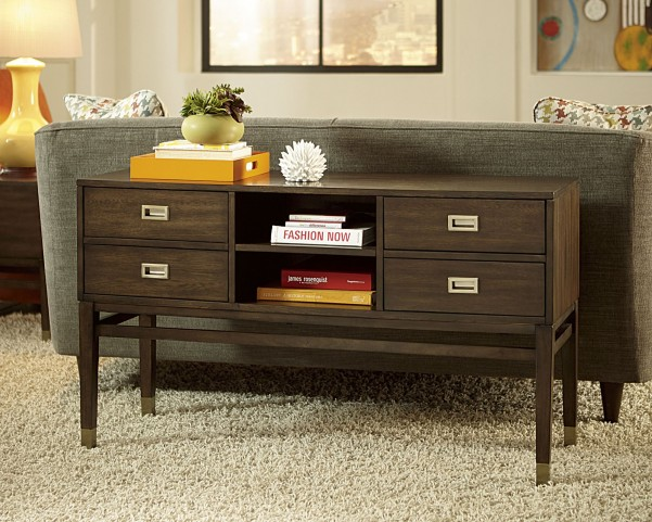Stratus Umber Brown Pecan Sofa Table
