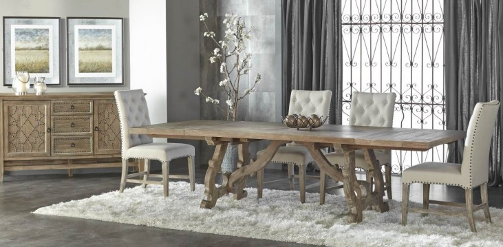 Haute Gray Wash Rectangular Extendable Trestle Dining Room Set with Wilshire Dining Chairs