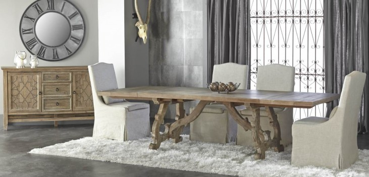 Haute Gray Wash Rectangular Extendable Trestle Dining Room Set with Colette Dining Chairs