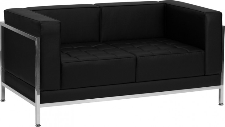 Hercules Imagination Series Black Leather Loveseat