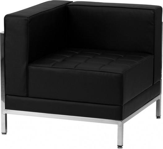 Hercules Imagination Series Black Leather Left Corner Chair