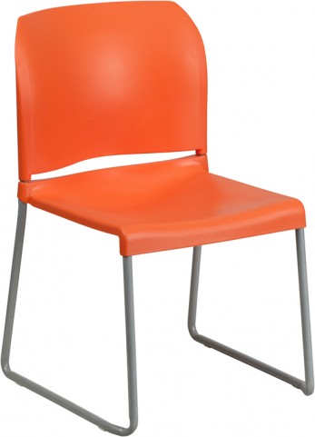 Hercules Series Orange Full Back Contoured Stack Chair with Sled Base