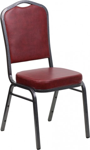 Hercules Series Crown Back Stacking Burgundy Vinyl Banquet Chair