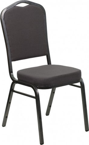 Hercules Series Crown Back Stacking Gray Fabric Banquet Chair
