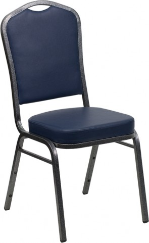 Hercules Series Crown Back Stacking Navy Vinyl Banquet Chair