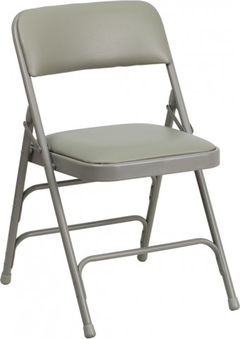Hercules Series Curved Gray Vinyl Folding Chair