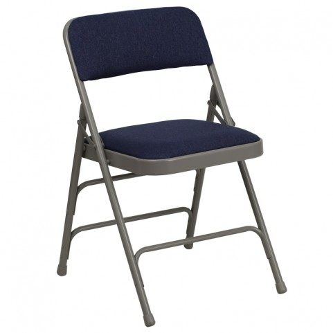 Hercules Series Curved Navy Fabric Folding Chair