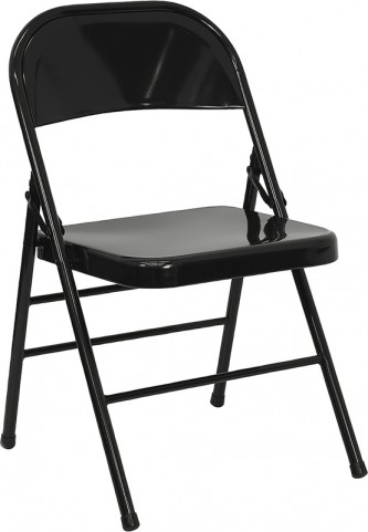 Hercules Triple Braced & Quad Hinged Black Metal Folding Chair