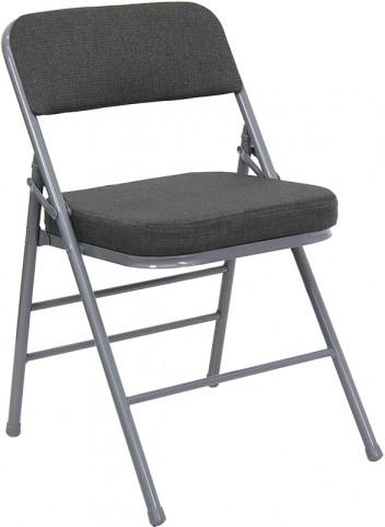 Hercules Triple Braced & Quad Hinged Gray Fabric Metal Folding Chair