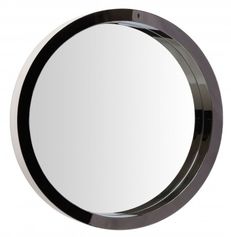 "Julia 35"" Black Stainless Wall Mirror"