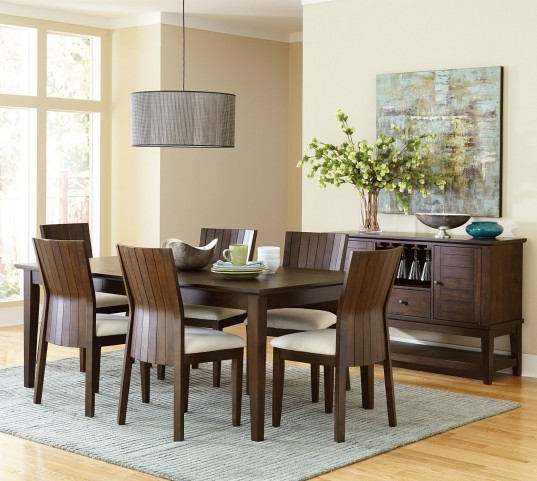 Harlow Warm Brown Extendable Rectangular Dining Room Set