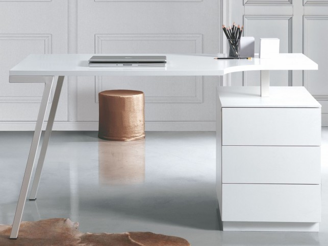 Home White High Gloss Office Desk