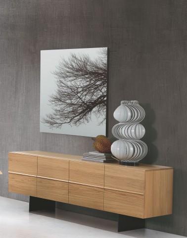 Horizon Anthracite Grey and Solid Walnut 4 Door Sideboard