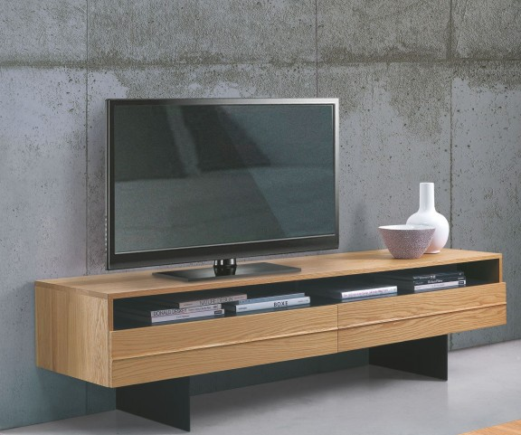 Horizon Solid Walnut and Anthracite Grey Leg TV Stand