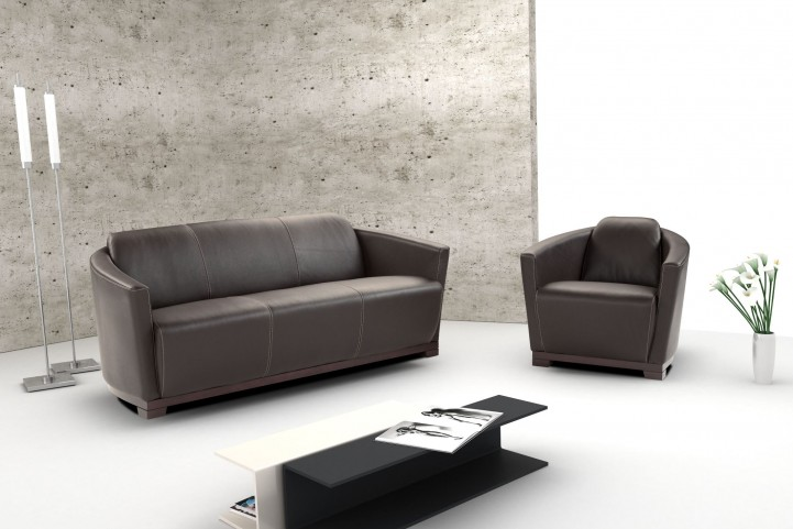 Hotel Black Italian Leather Living Room Set
