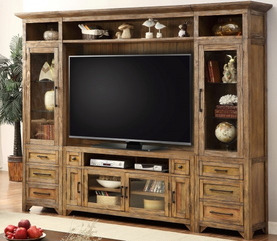 Hunts Point Vintage Weathered Pine Storage Entertainment Wall