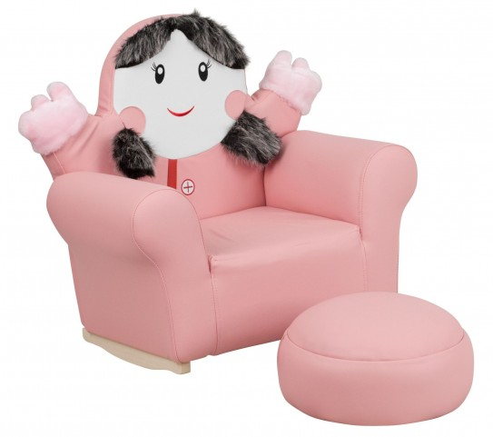 Kid Pink Little Girl Rocker Chair and Footrest