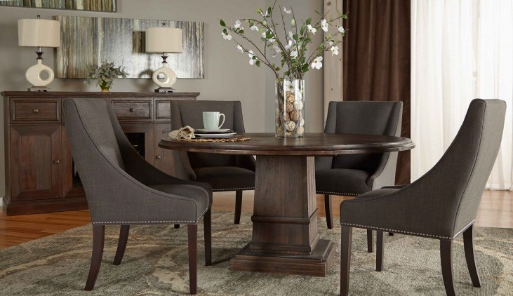 "Hudson Rustic Java 60"" Round Dining Room Set with Carson Dining Chairs"