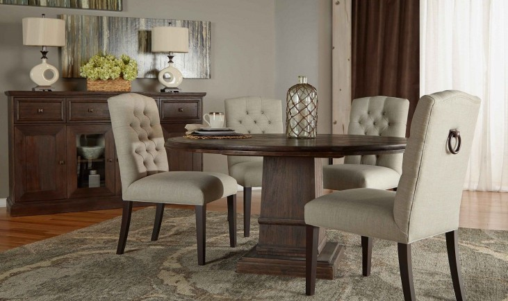 "Hudson Rustic Java 60"" Round Dining Room Set with Graham Dining Chairs"