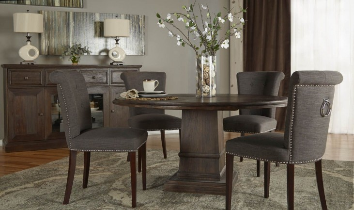 """Hudson Rustic Java 60"""" Round Dining Room Set with Luxe Dining Chairs"""