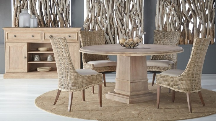 "Hudson Stone Wash 60"" Round Dining Room Set with Greco Dining Chairs"