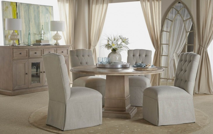"Hudson Stone Wash 60"" Round Dining Room Set with Gracie Dining Chairs"