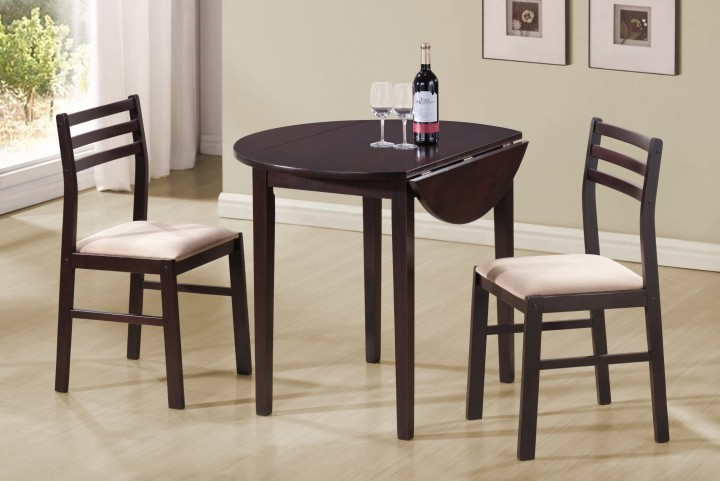 1009 Cappuccino 3Pcs Drop Leaf Dining Set