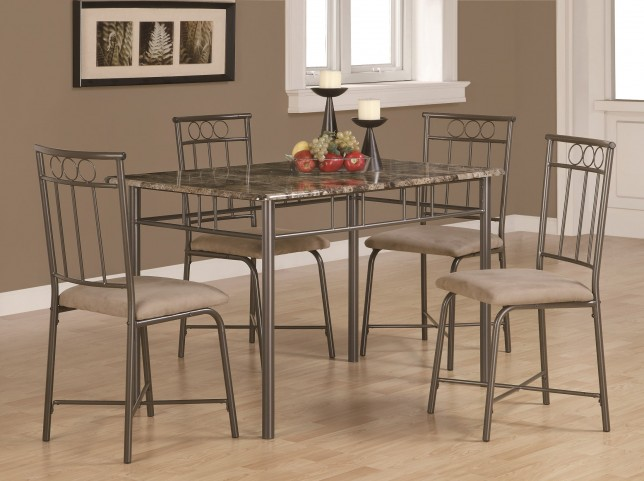 1029 Cappuccino Marble / Bronze Metal 5Pcs Dining Set