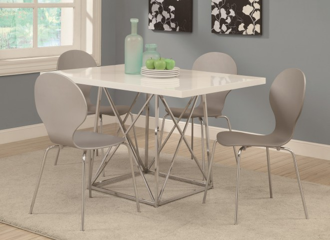 1046 White Glossy / Chrome Metal Dining Room Set