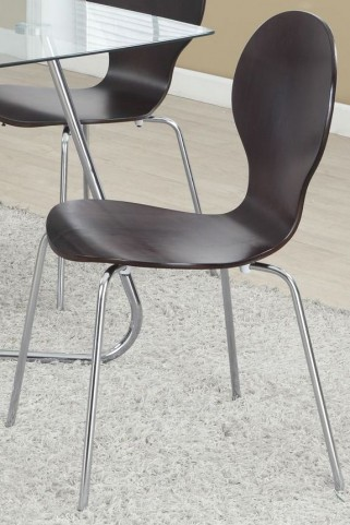 "Cappuccino Bentwood/Chrome Metal 34"" Chair Set of 4"