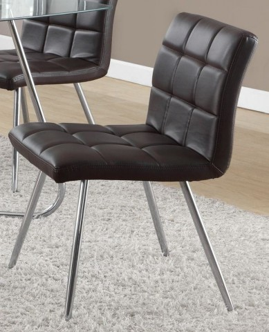 """Brown Chrome Metal 32"""" Dining Chair Set of 2"""