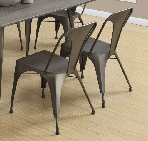 "Bronze Metal Cafe 33"" Dining Chair Set of 2"