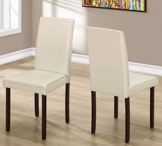 "Ivory Leather 36"" Dining Chair Set of 2"