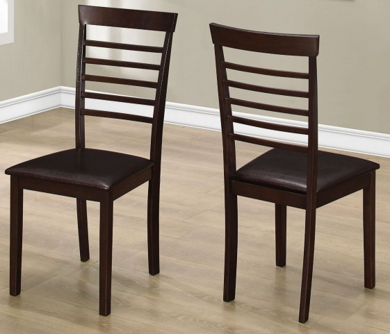 "Dark Brown 37"" Dining Chair Set of 2"