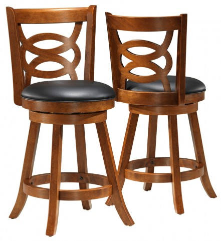 "1252 Dark Oak Solid Wood 39"" Swivel Counter Stool Set of 2"