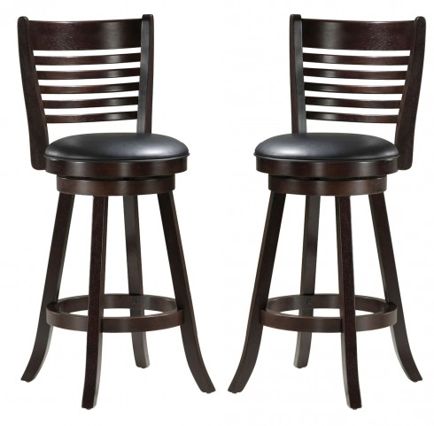 "1283 Cappuccino Solid Wood 41"" Swivel Barstool Set of 2"
