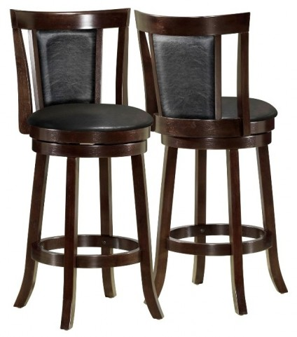"1287 Black / Cappuccino Wood 43"" Swivel Barstool Set of 2"
